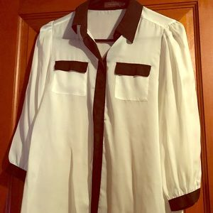 Limited white with black trim sheer button down